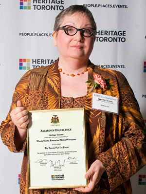 Wendy Smith at 2014 Heritage Toronto Awards
